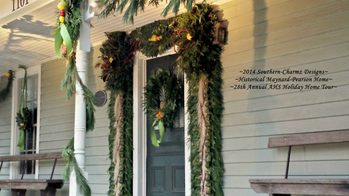 Front Door Post-Bellum/Pre-Victorian Christmas Designs by Southern-Charmz Interiors. What a delightful fresh evergreen display of Cedar, Magnolia, Frasier fir, Conifer, Pampass plumes, fruits and feathers.