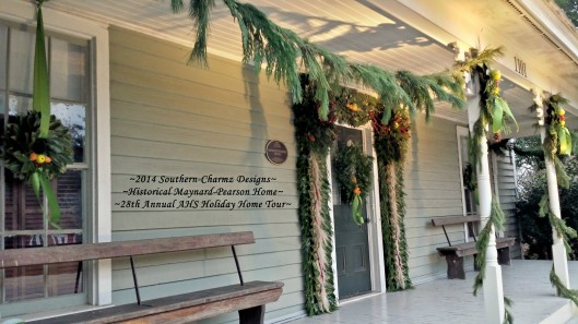 The Christmas Spirit abounds throughout the Maynard-Pearson each December. The evergreen fragrance welcomes the Christmas Season and quietly beckons visitors to sit a spell and enjoy the delightful festive porch.